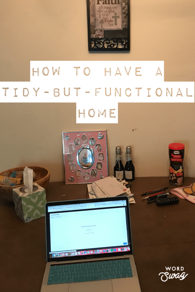 a mac laptop on a dining room table how to have a tidy-but-functional home