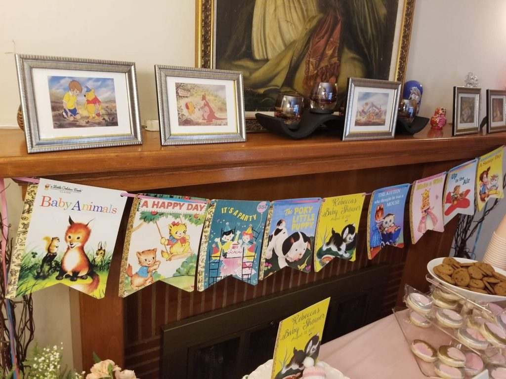 a banner of little golden childrens book covers and winnie the pooh pictures in frames