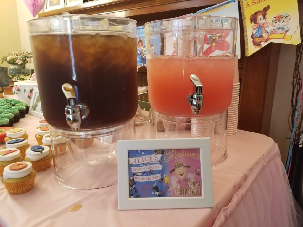 iced tea and pink lemonade saying 'alice's adventures in wonderland' and 'pinkalicious' childrens book