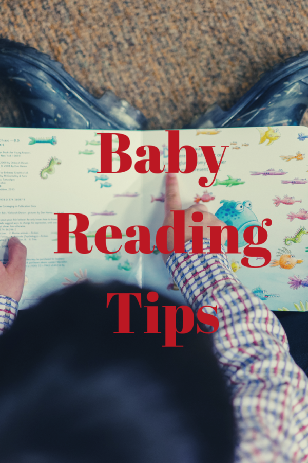 """a baby reading a baby book to himself with text """"baby reading tips"""""""