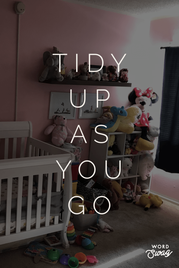 a pink baby girl nursery with stuffed animal storage tidy up as you go