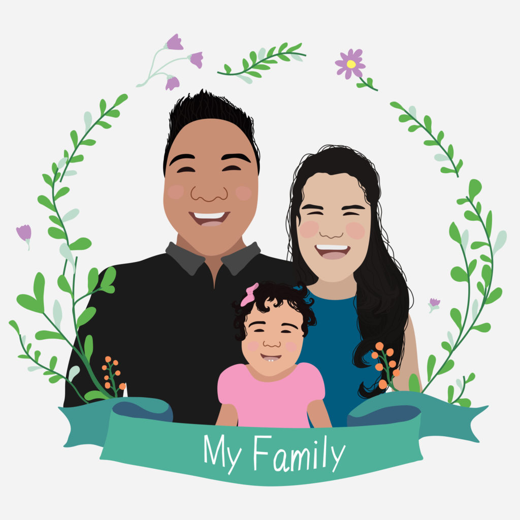 artwork of a family of three saying my family