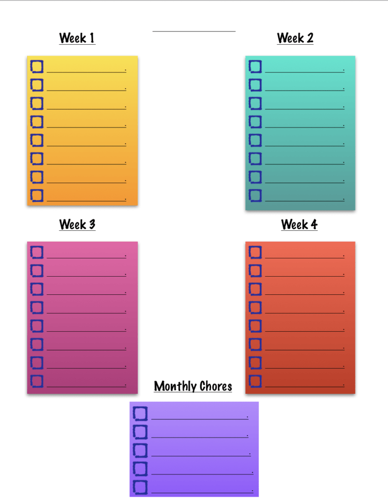 a colorful checklist showing four weekly-list spaces with a monthly chores space