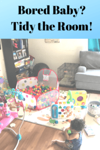"a messy family living room with toys, bookcases, mats, and a ball pit in it with text ""bored baby? tidy the room!"""