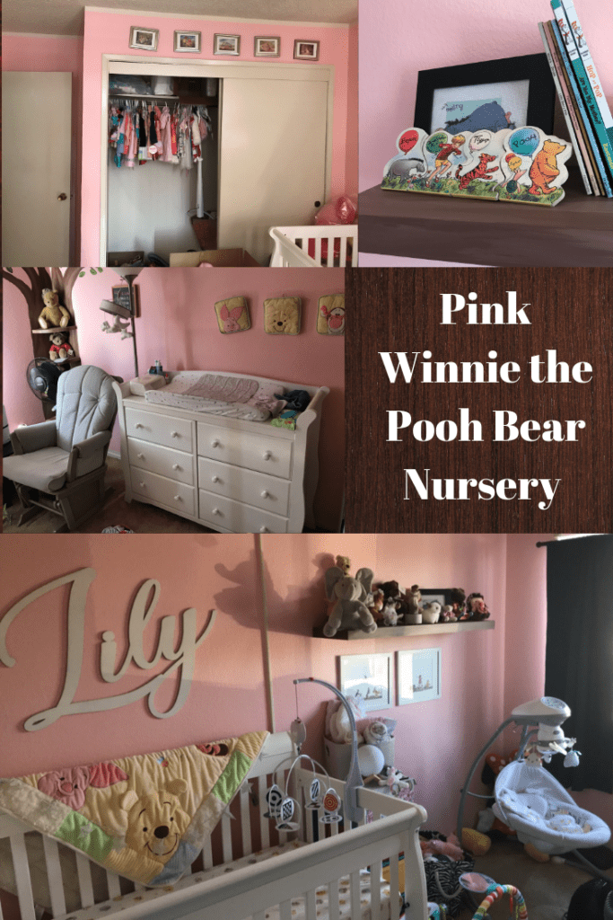 """four pictures of a pink baby room that say """"pink winnie the pooh bear nursery"""" it includes a name on the wall that says lily, a white dresser, a crib, a swing, and pooh books"""
