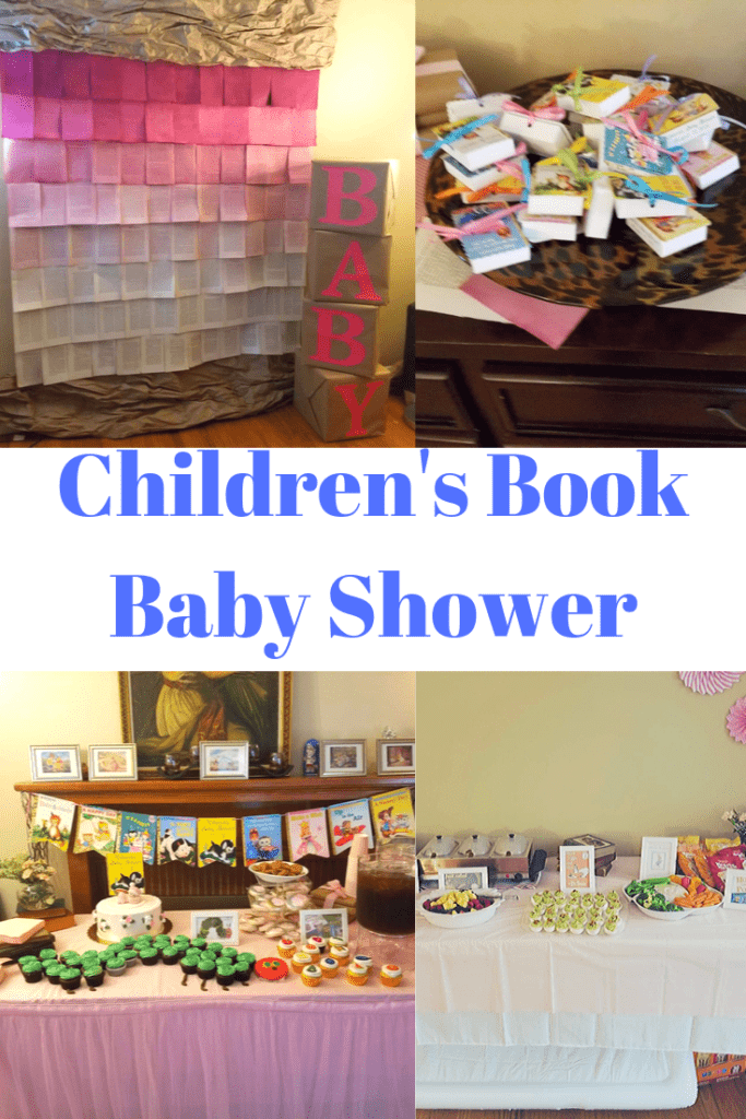 four pictures showing scenes from a baby shower themed for childrens books