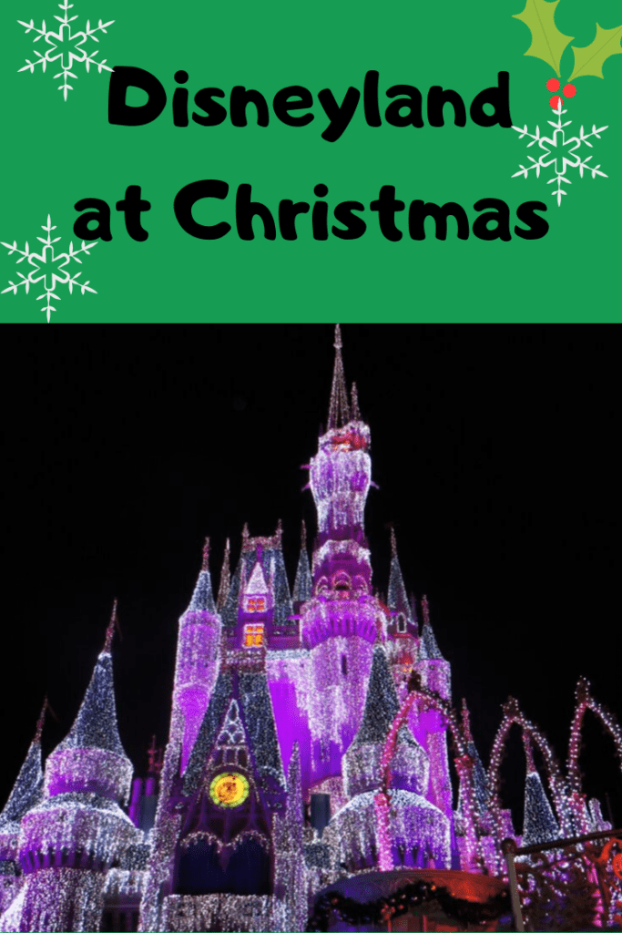 the disneyland castle lit up at night for christmas