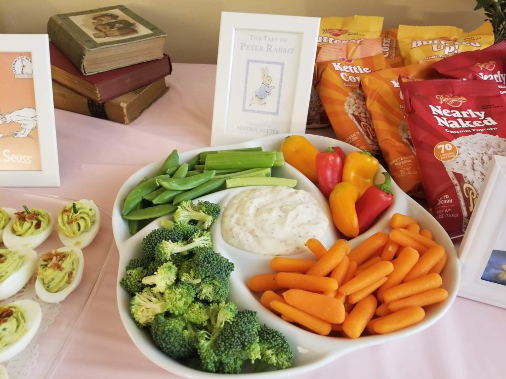 veggie platter saying 'the tale of peter rabbit' childrens book