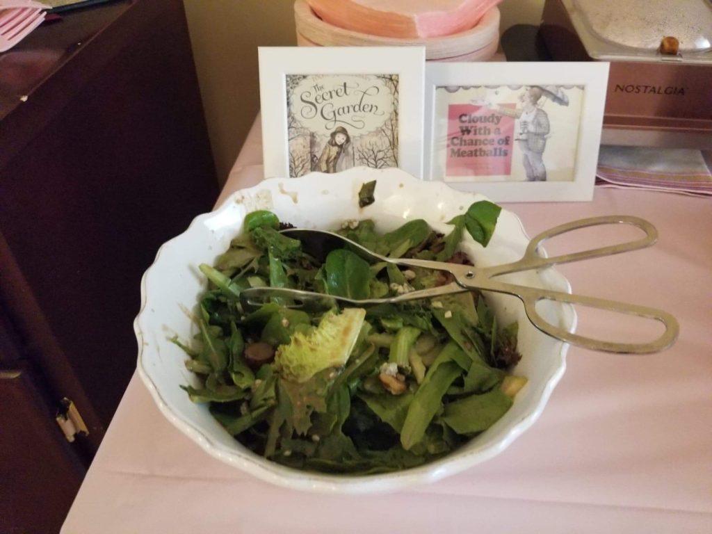 green salad saying 'the secret garden' childrens classic book
