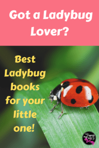 a ladybug on a leaf with text got a ladybug lover? best ladybug books for your little one!