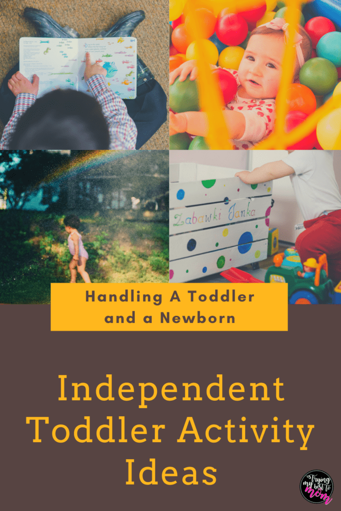 a toddler in a ball pit, reading a book, and jumping through a sprinkler with text independent toddler play activities