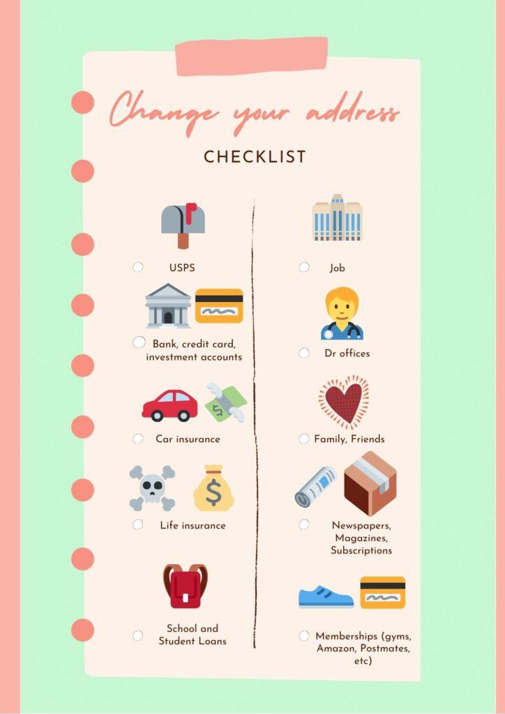 change your address checklist