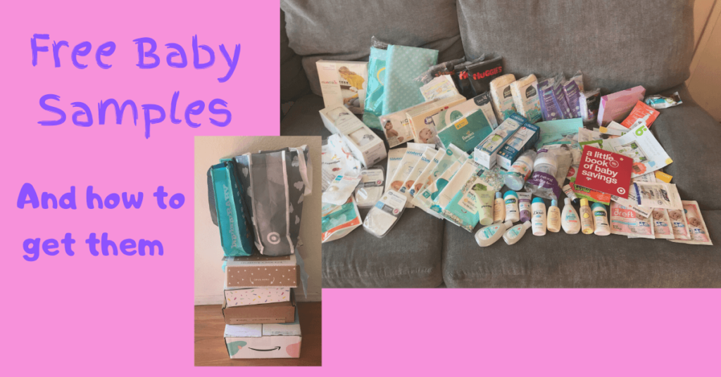 baby samples displayed on a couch with text free baby samples and how to get them