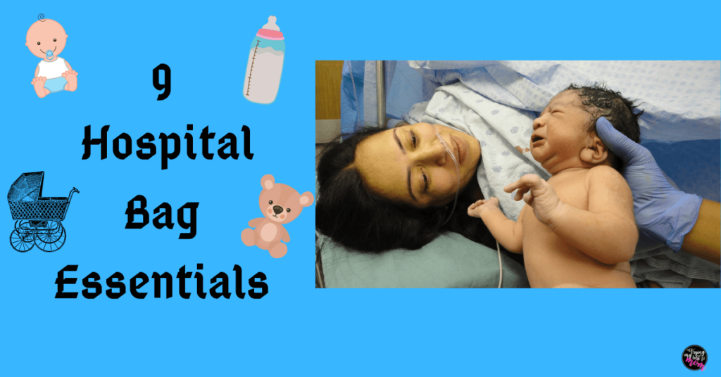 newborn shown to mom in hospital bed with text 9 hospital bag essentials