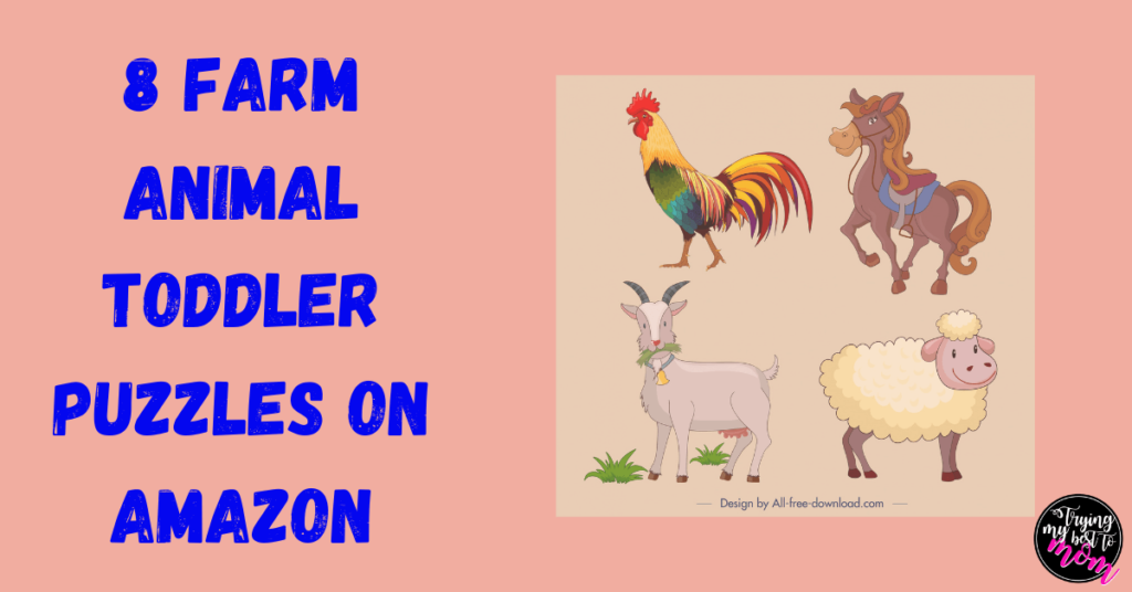 farm animals with text 8 farm animal toddler puzzles on amazon
