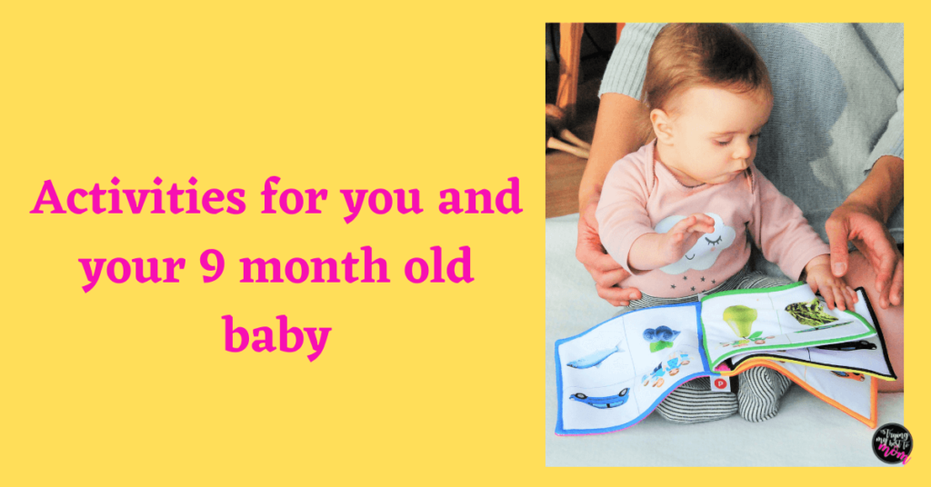 baby reading a book with a parent with text activities for you and your 9 month old baby