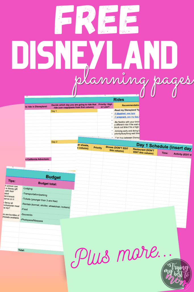 planning excel sheets with text free disneyland planning pages