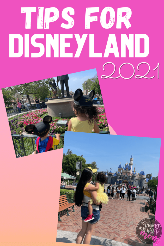toddlers at disneyland with text tips for disneyland 2021