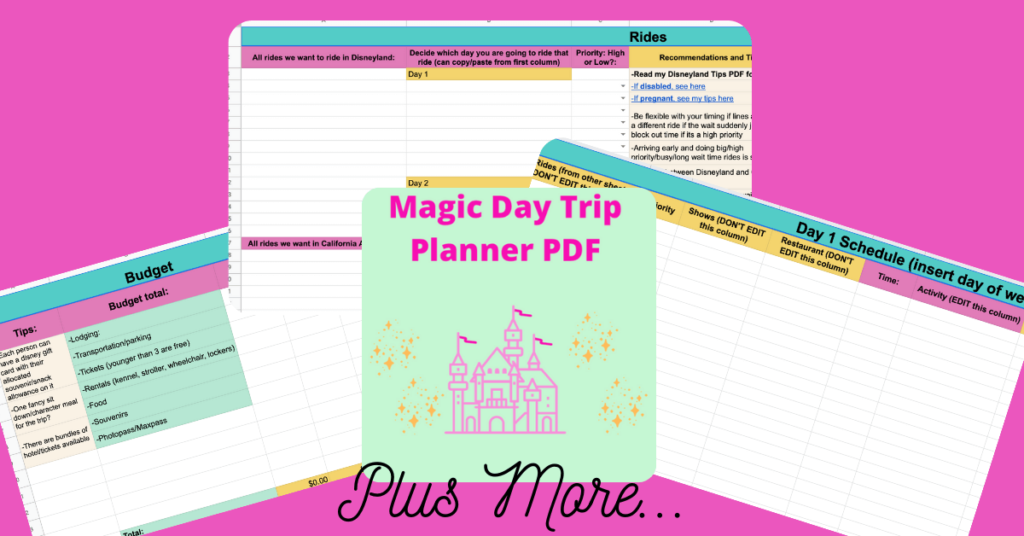 a collage of 3 spreadsheets for planning a disneyland vacation