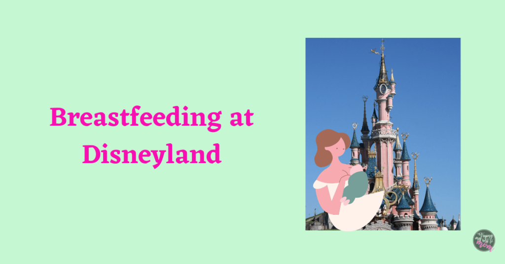 disneyland castle and an illustration of a mother nursing her baby with text breastfeeding at disneyland